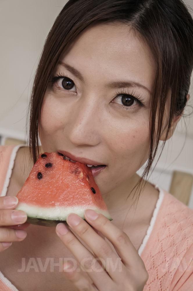 image Naughty yui oba enjoys man licking and sucking her tits